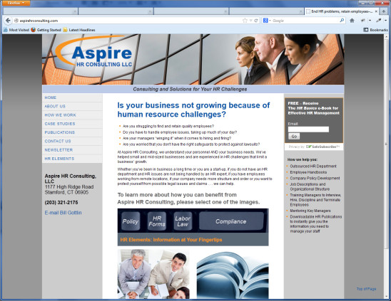 Aspire HR Consulting website