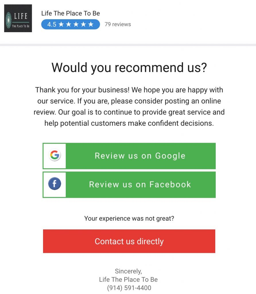 Customers receive a clear request to write a review.
