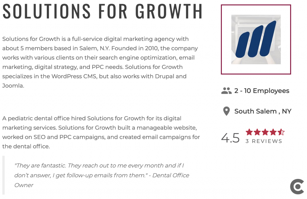 Solutions for Growth named best SEO agency in Westchester New York NY